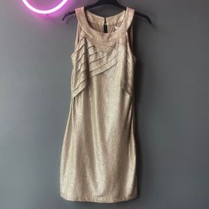 Max and Cleo Gold Cross Tuck Dress